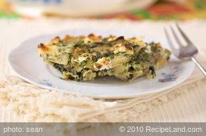 Crustless Swiss Chard, Leek and Herb Quiche