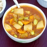Curry Potato, Edamame and Lentil Soup