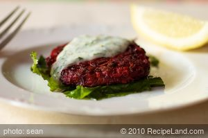Beet Pancakes with Yogurt Dill Sauce