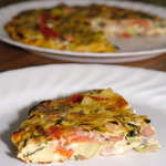 Basil-Mint Zucchini and Cherry Tomato Frittata with Goat Cheese