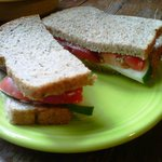 Cucumber and tomatoes sandwich