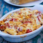 Double-Cheese Rigatoni with Sausage and Hot Cherry Peppers For Two
