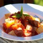 Baked Kielbasa and Potatoes in Sauce