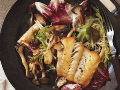 Haddock with Warm Frisee and Mushroom Salad