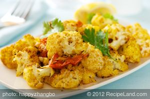 Roasted Spiced Cauliflower with Tomatoes