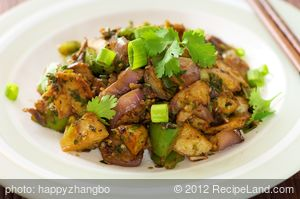 Eggplant, Crispy Potato, and Bell Pepper Stir-Fry