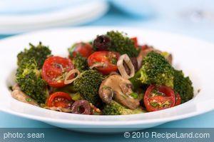 Marinated Broccoli, Mushroom, and Olive Salad