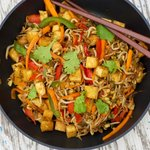 Tofu, Bean Sprouts and Bell Pepper Stir-Fry