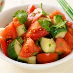 Cucumber Tomato Salad with Soy-Sesame Dressing