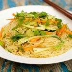 Spicy Peanut Butter Noodle Salad with Cucumber and Bok Choy