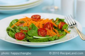 Arugula Cherry Tomato Salad with Balsamic Shallot Vinaigrette
