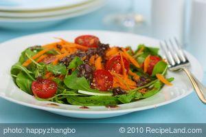 Arugula Cherry Tomato Salad with Balsamic Shallot Vinaigrette