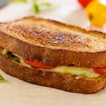 Basil Pesto and Fresh Tomato Grilled Cheese
