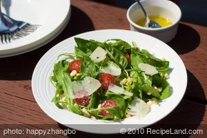 Arugula, Cherry Tomato, Corn Salad with Paremesan