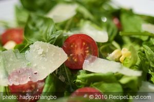 Arugula, Cherry Tomato, Corn Salad with Paremesan