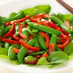 Sugar Snap Pea, Red Pepper and Arugula Salad with Soy-Sesame Dressing