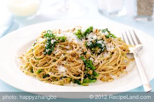 Pasta with Rapini, Toasted Garlic, Bread Crumbs and Parmesan