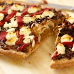Caramelized Onion, Roasted Bell Pepper and Goat Cheese Flatbread