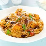 Mediterranean Roasted Cauliflower, Tomato Sauce and Olives with Pasta