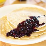 Two Wheat Crepes with Blueberry Sauce