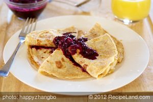 Breakfast Crepes with Warm Berry Sauce