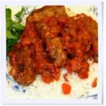 Greek Meat Rolls in Tomato-Wine Sauce
