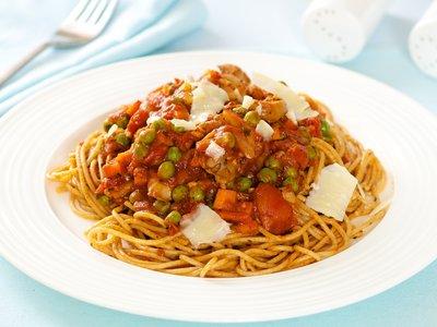 Pasta with Mushroom-Pea Marinara Sauce