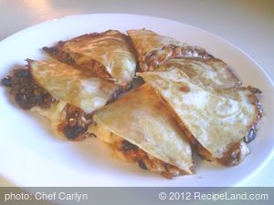 Black Bean Chili Quesadillas