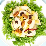 Arugula, Apple and Cheddar Salad with Maple Candied Pecans