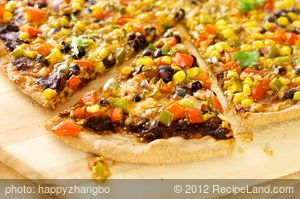 Mexican Black Bean, Corn, and Vegetable Pizza