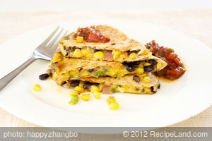 Smoky Black Bean, Corn and Cheddar Quesadillas