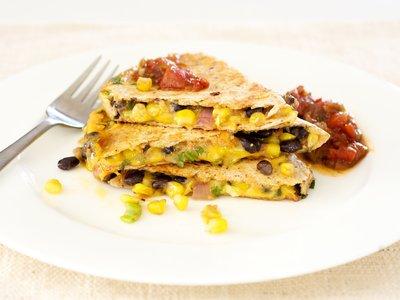 Smoky Black Bean, Corn and Cheddar Quesadillas