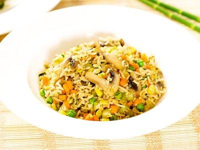 Carrot, Peas and Mushroom Fried Rice