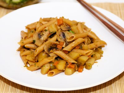 Soy-Sesame Vegetables with Penne