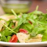 Arugula, Artichoke and Cherry Tomato  Salad with Pesto Vinaigrette