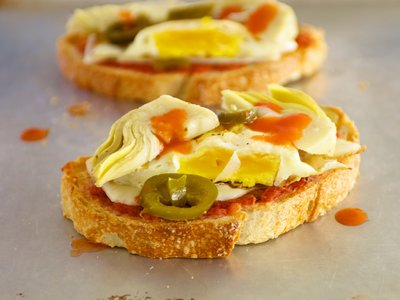 Artichoke Hearts and Fried Egg Crostini