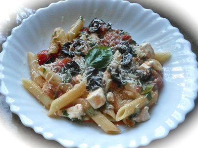 Penne with Tomato, Black Olive and Feta