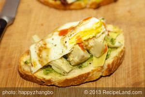 Artichoke Hearts, Basil Pesto and Fried Egg Crostini