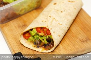 Guacamole, Refried Black Bean and Cherry Tomato Burrito