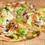 Broccoli, Mushroom and Sun-Dried Tomato Tortilla Pizza