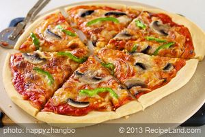 Bell Pepper, Mushroom and Onion Pizza