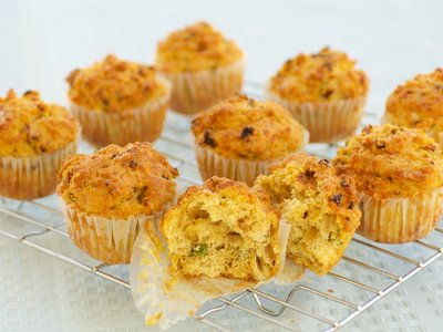 Whole Wheat Cheddar-Onion Corn Muffins