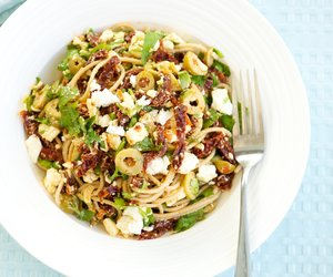 Whole Wheat Pasta with Cilantro, Sun-Dried Tomatoes and Feta