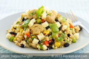 Marinated Mushroom, Black Bean Couscous Salad with Cheddar
