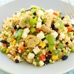 Marinated Mushroom, Black Bean Couscous Salad with Cheddar