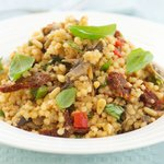 Israeli Couscous with Sauteed Mushrooms, Pine Nuts and Sun-Dried Tomatoes