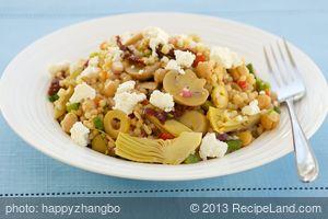 Chickpea, Marinated Artichoke Hearts, Mushrooms, and Sun-Dried Tomato Couscous Salad with Feta