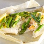 Tilapia En Papillote with Asparagus and Shrimp