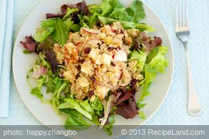 Quinoa, Apple, and Cheddar Salad with Mixed Greens