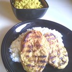 Grilled Vegan Chicken Steaks With Curried Couscous And Zucchini Raita